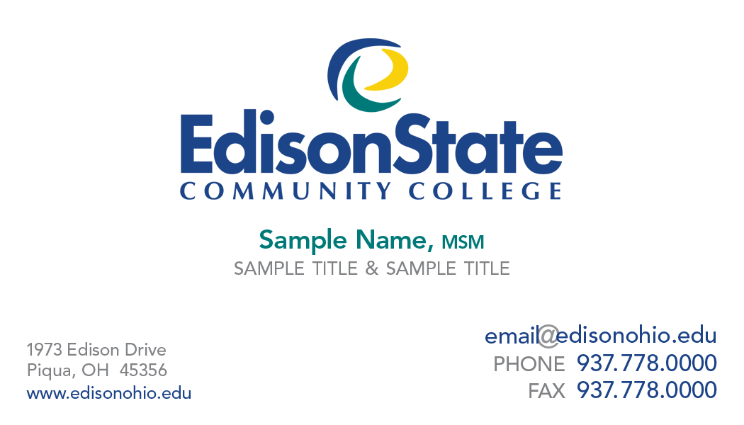Business Card Request Form | Edison State Community College